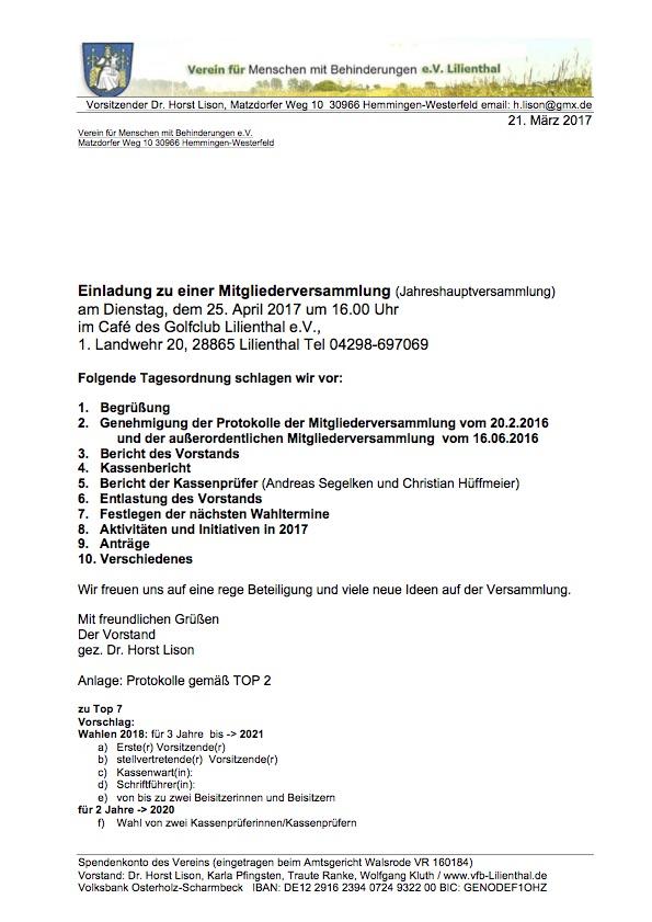 einladung zur jhv am 25.4.17 und protokoll (auszug) – verein für, Einladung